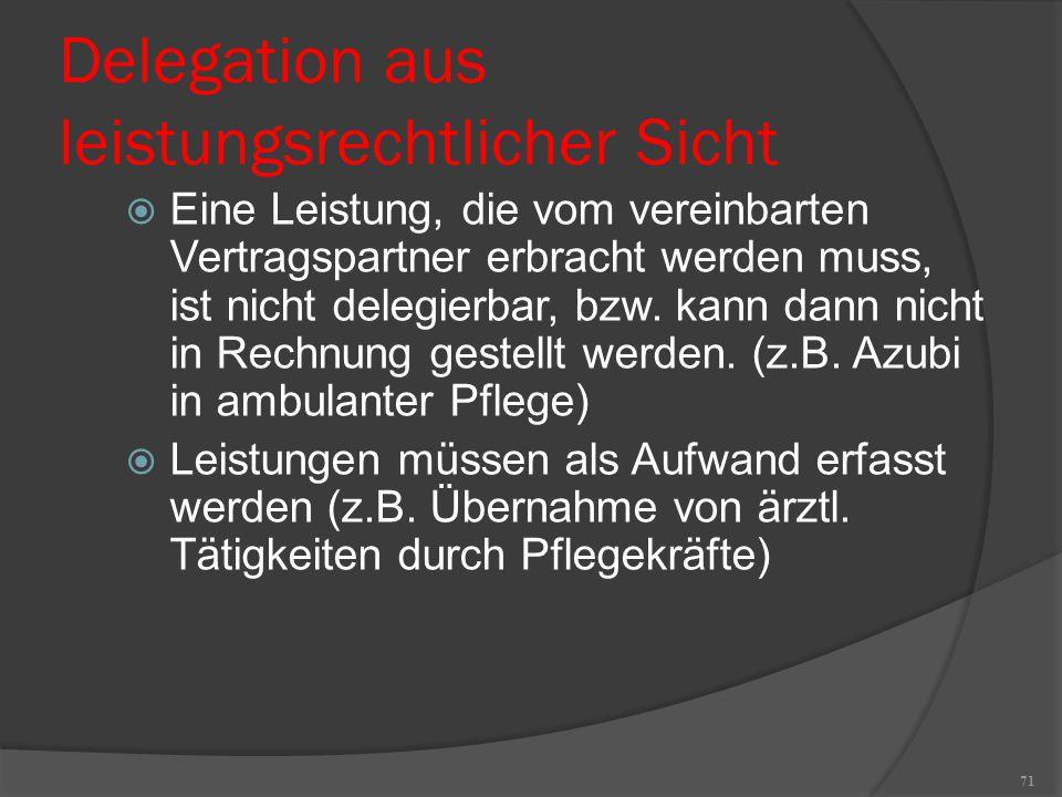 71 Delegation aus leistungsrechtlicher Sicht  Eine Leistung, die vom vereinbarten Vertragspartner erbracht werden muss, ist nicht delegierbar, bzw. k