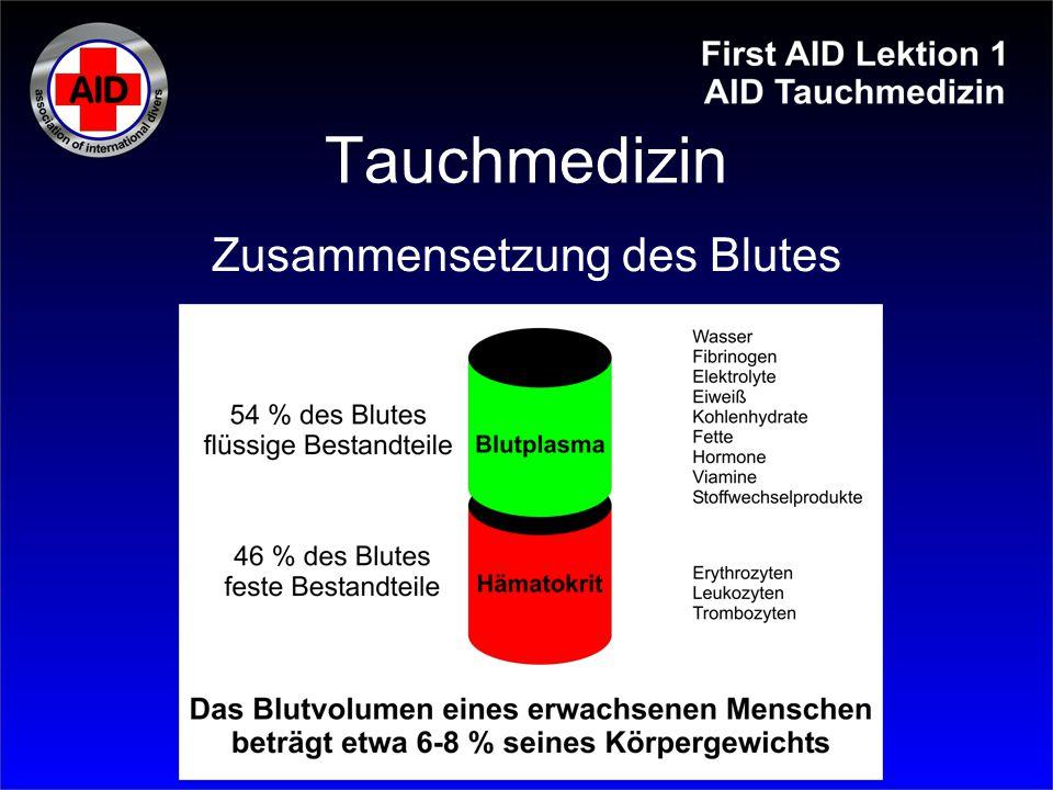 Tauchmedizin Zusammensetzung des Blutes