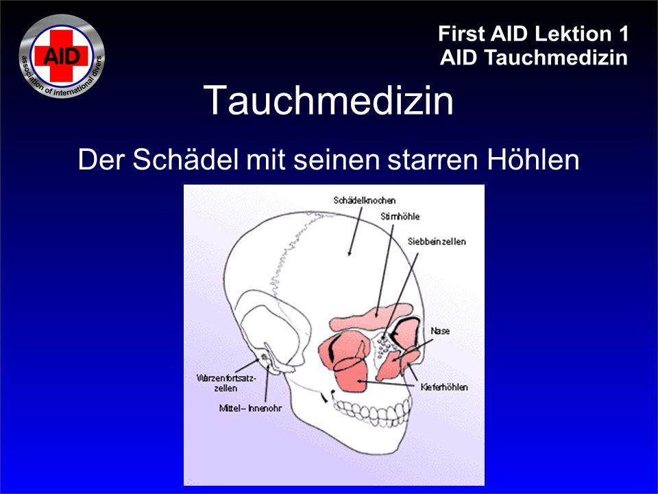 Tauchmedizin Erscheinungsbild: Pneumothorax (Spannungspneu) Mediastinal-Hautemphysem arterielle Gasembolie Luft tritt aus der Lunge im Körperinneren aus Lungenüberdruckunfall