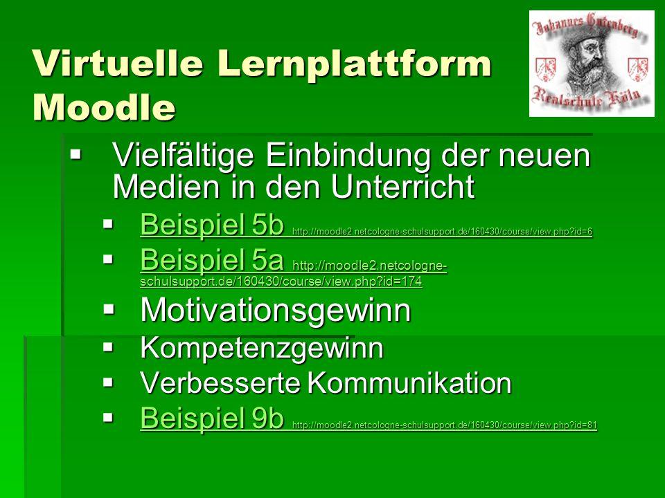 Virtuelle Lernplattform Moodle  Vielfältige Einbindung der neuen Medien in den Unterricht  Beispiel 5b http://moodle2.netcologne-schulsupport.de/160430/course/view.php id=6 Beispiel 5b http://moodle2.netcologne-schulsupport.de/160430/course/view.php id=6 Beispiel 5b http://moodle2.netcologne-schulsupport.de/160430/course/view.php id=6  Beispiel 5a http://moodle2.netcologne- schulsupport.de/160430/course/view.php id=174 Beispiel 5a http://moodle2.netcologne- schulsupport.de/160430/course/view.php id=174 Beispiel 5a http://moodle2.netcologne- schulsupport.de/160430/course/view.php id=174  Motivationsgewinn  Kompetenzgewinn  Verbesserte Kommunikation  Beispiel 9b http://moodle2.netcologne-schulsupport.de/160430/course/view.php id=81 Beispiel 9b http://moodle2.netcologne-schulsupport.de/160430/course/view.php id=81 Beispiel 9b http://moodle2.netcologne-schulsupport.de/160430/course/view.php id=81