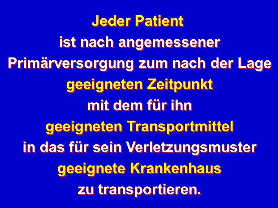 Jeder Patient ist nach angemessener Primärversorgung zum nach der Lage geeigneten Zeitpunkt mit dem für ihn geeigneten Transportmittel in das für sein