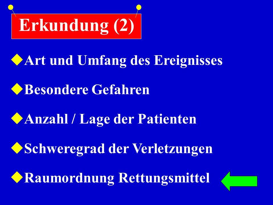 Erkundung (2)  Art und Umfang des Ereignisses  Besondere Gefahren  Anzahl / Lage der Patienten  Schweregrad der Verletzungen  Raumordnung Rettung