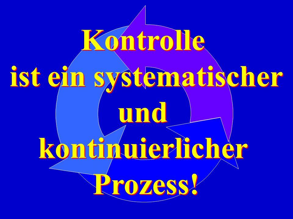 Kontrolle ist ein systematischer und kontinuierlicher Prozess! Kontrolle ist ein systematischer und kontinuierlicher Prozess!
