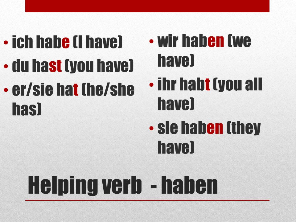 Creating a past participle – weak verbs 1.Take the infinitive 2.