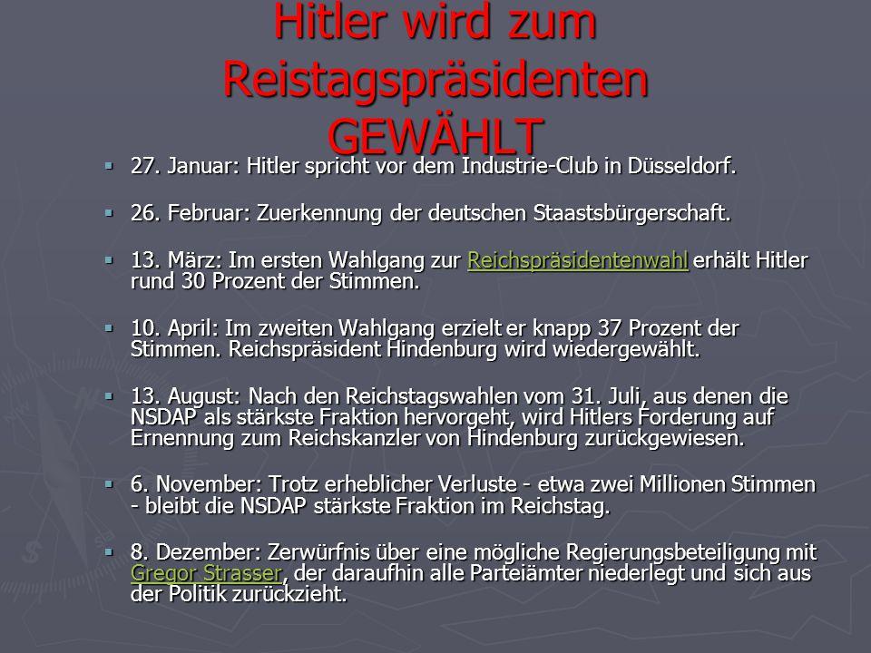 Hitler wird zum Reistagspräsidenten GEWÄHLT  27. Januar: Hitler spricht vor dem Industrie-Club in Düsseldorf.  26. Februar: Zuerkennung der deutsche