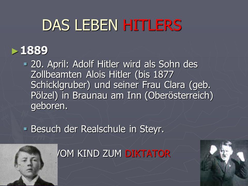 DAS LEBEN HITLERS ► 1889  20. April: Adolf Hitler wird als Sohn des Zollbeamten Alois Hitler (bis 1877 Schicklgruber) und seiner Frau Clara (geb. Pöl
