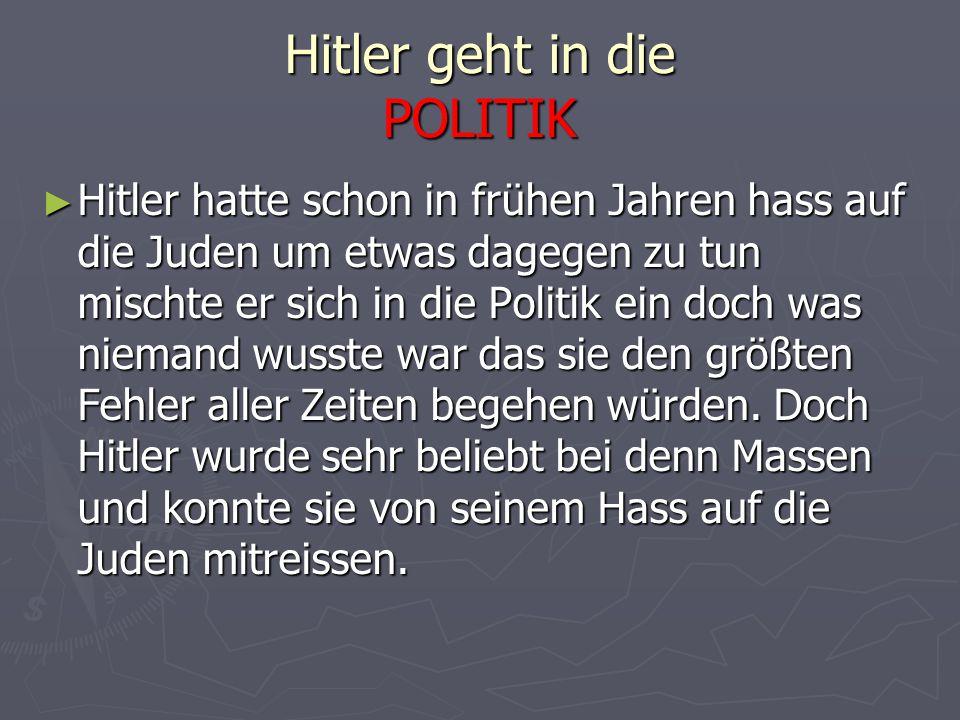 Hitler geht in die POLITIK ► Hitler hatte schon in frühen Jahren hass auf die Juden um etwas dagegen zu tun mischte er sich in die Politik ein doch wa
