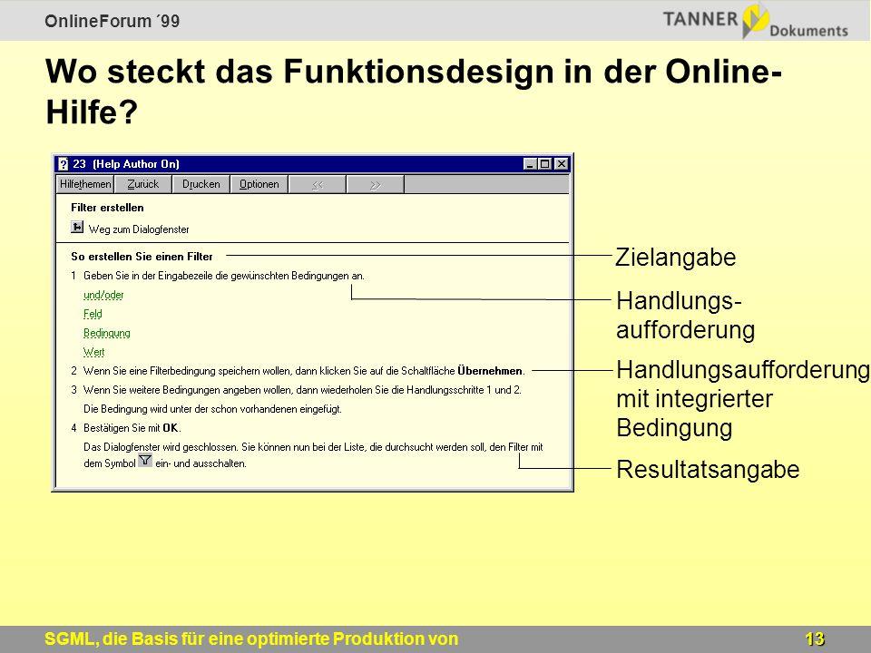 OnlineForum ´99 13SGML, die Basis für eine optimierte Produktion von Windows-Online-Hilfen Wo steckt das Funktionsdesign in der Online- Hilfe.