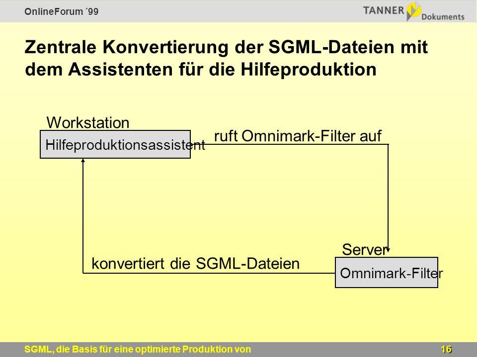 OnlineForum ´99 16SGML, die Basis für eine optimierte Produktion von Windows-Online-Hilfen Zentrale Konvertierung der SGML-Dateien mit dem Assistenten für die Hilfeproduktion Hilfeproduktionsassistent Omnimark-Filter Workstation Server ruft Omnimark-Filter auf konvertiert die SGML-Dateien
