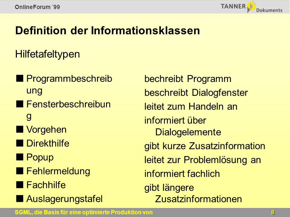 OnlineForum ´99 19SGML, die Basis für eine optimierte Produktion von Windows-Online-Hilfen Ergebnis der Konvertierung Quelldateien für die Hilfeproduktion