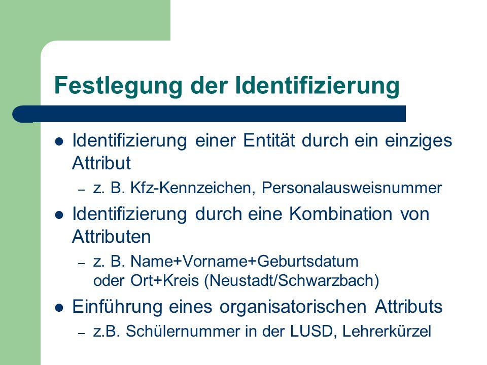 Festlegung der Identifizierung Identifizierung einer Entität durch ein einziges Attribut – z.