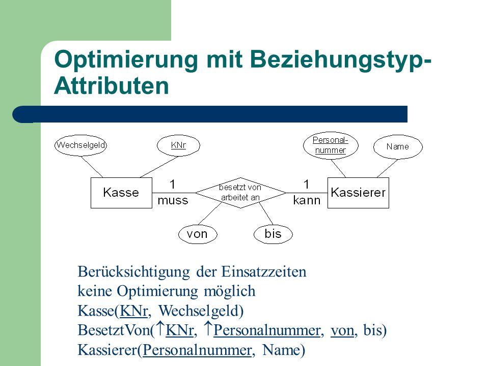 Optimierung mit Beziehungstyp- Attributen Berücksichtigung der Einsatzzeiten keine Optimierung möglich Kasse(KNr, Wechselgeld) BesetztVon(  KNr,  Personalnummer, von, bis) Kassierer(Personalnummer, Name)