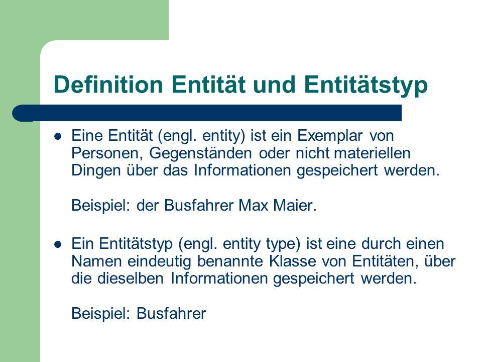Definition Entität und Entitätstyp Eine Entität (engl.
