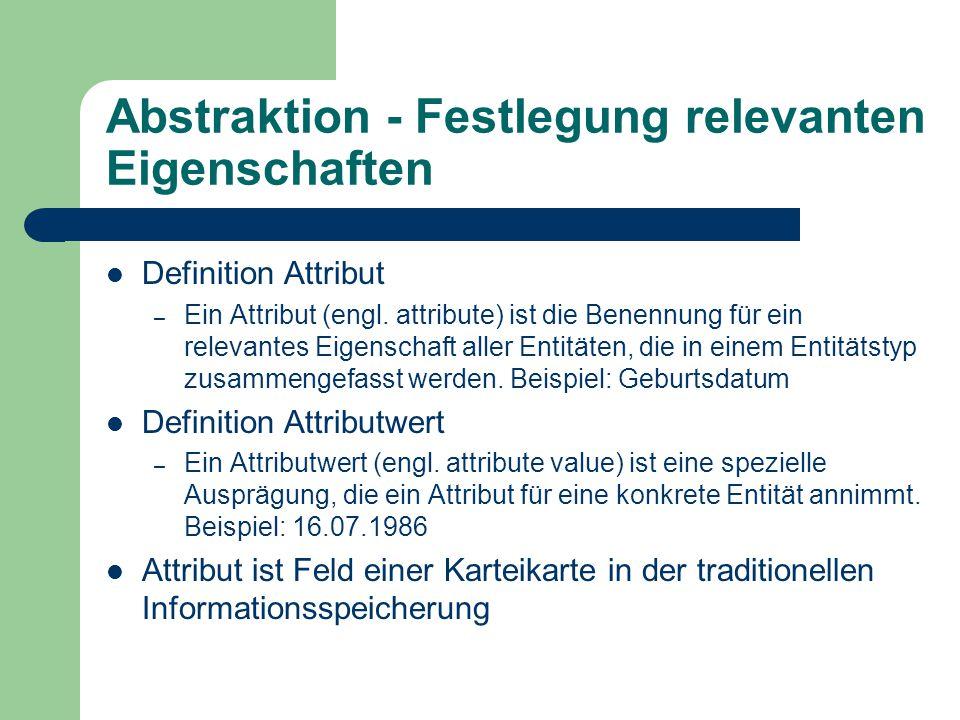 Abstraktion - Festlegung relevanten Eigenschaften Definition Attribut – Ein Attribut (engl.