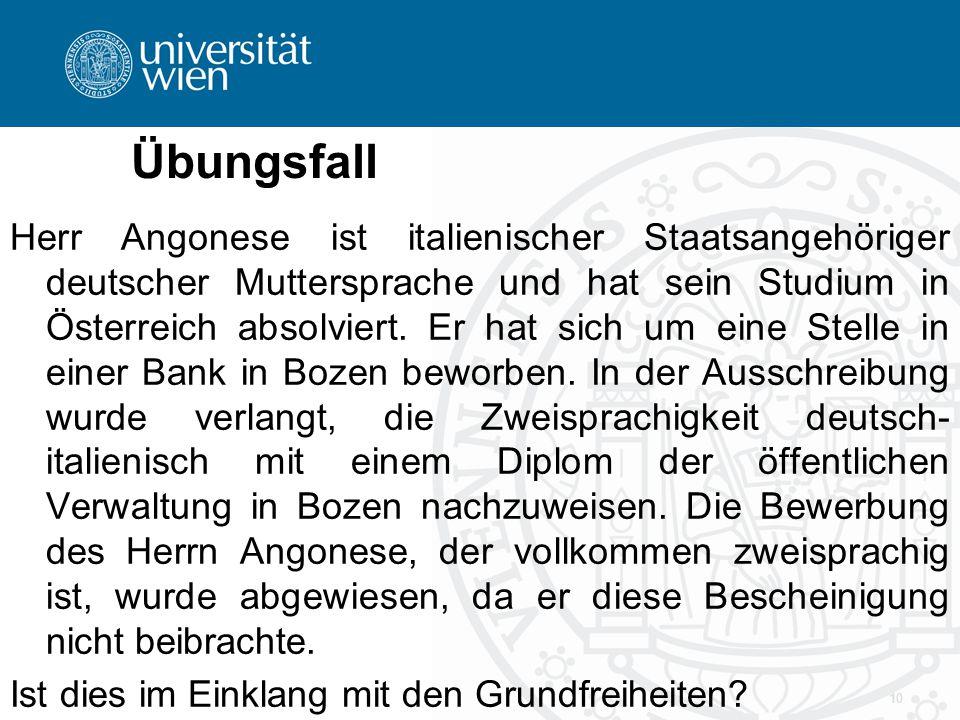 Übungsfall Herr Angonese ist italienischer Staatsangehöriger deutscher Muttersprache und hat sein Studium in Österreich absolviert. Er hat sich um ein
