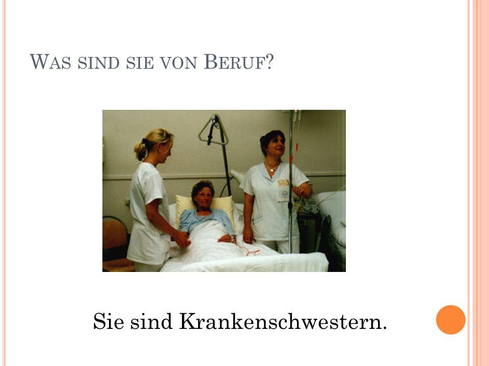 W AS SIND SIE VON B ERUF Sie sind Krankenschwestern.