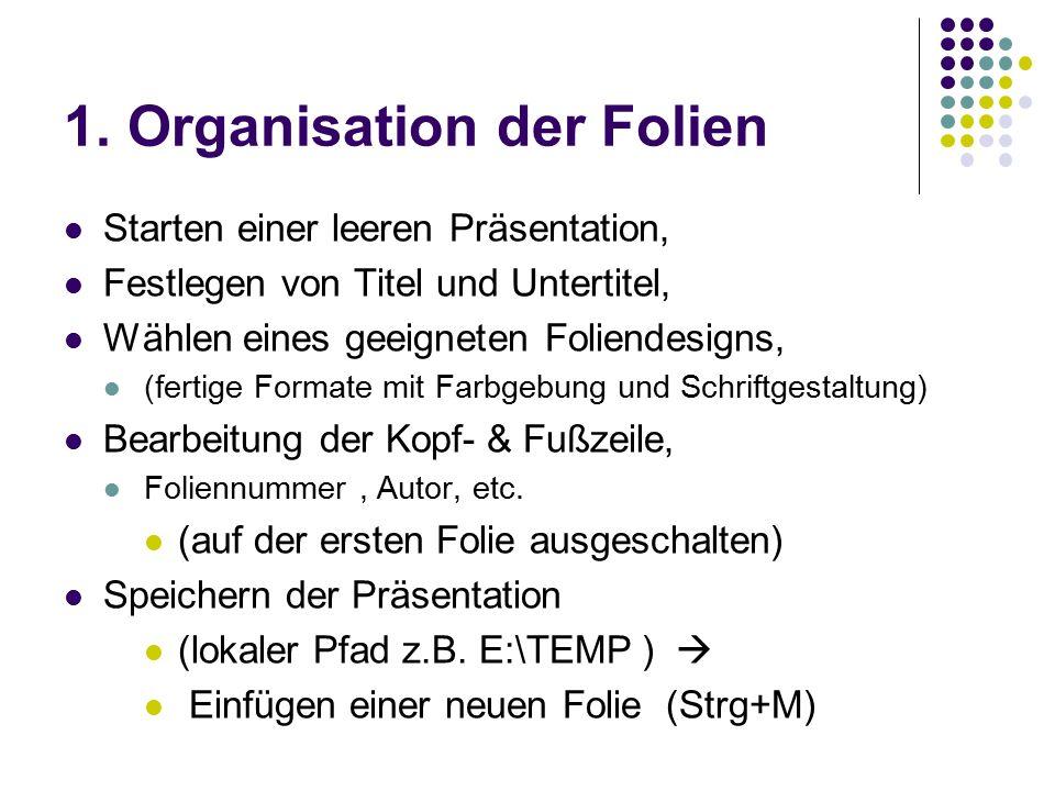 1. Organisation der Folien Starten einer leeren Präsentation, Festlegen von Titel und Untertitel, Wählen eines geeigneten Foliendesigns, (fertige Form