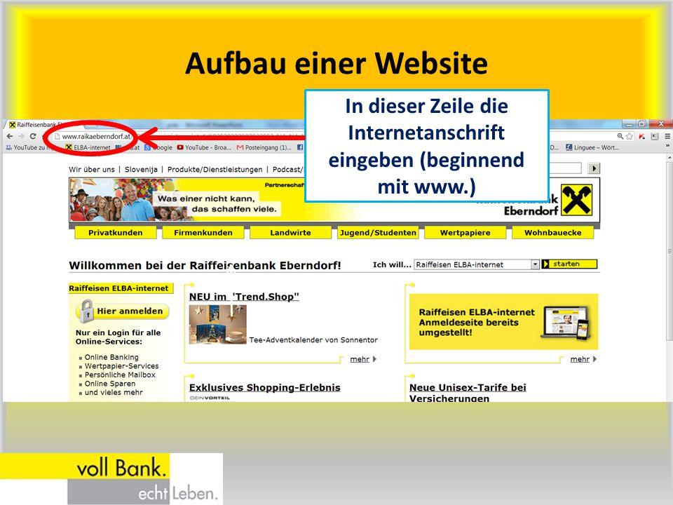 Aufbau einer Website In dieser Zeile die Internetanschrift eingeben (beginnend mit www.)