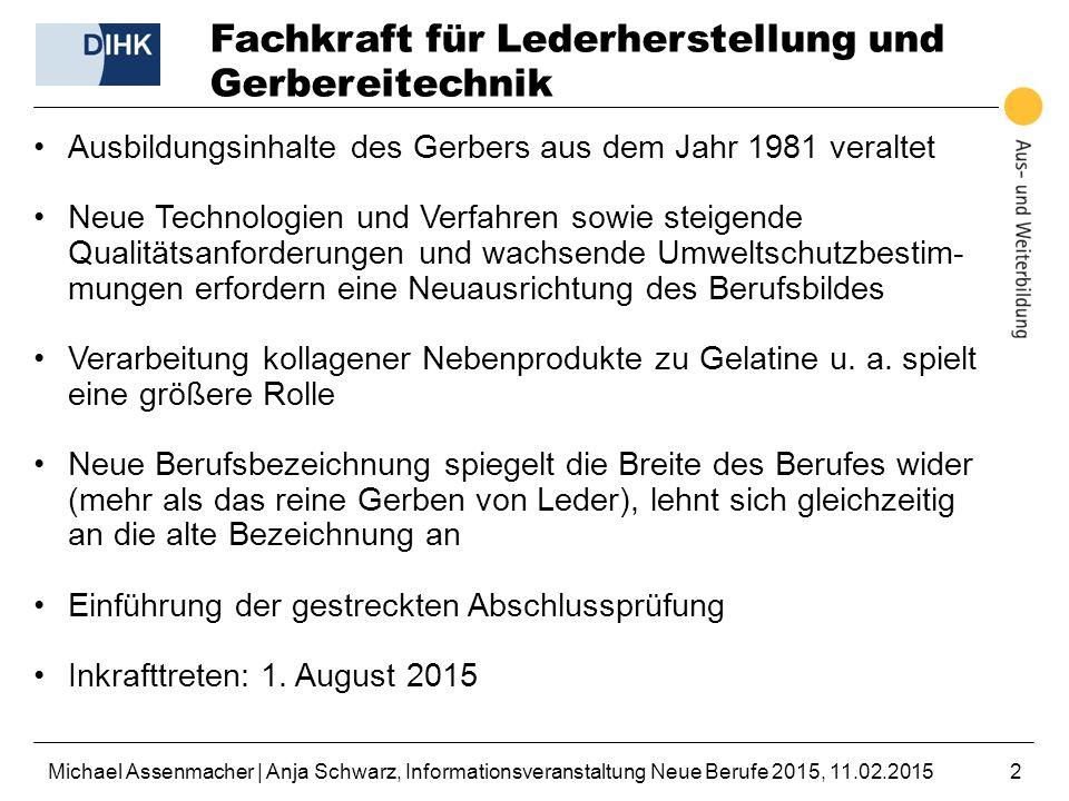 Michael Assenmacher | Anja Schwarz, Informationsveranstaltung Neue Berufe 2015, 11.02.20152 Fachkraft für Lederherstellung und Gerbereitechnik Ausbild