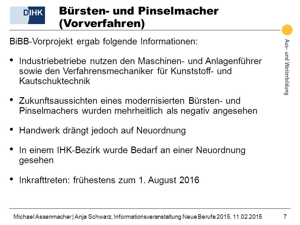 Michael Assenmacher | Anja Schwarz, Informationsveranstaltung Neue Berufe 2015, 11.02.20157 Bürsten- und Pinselmacher (Vorverfahren) BiBB-Vorprojekt e