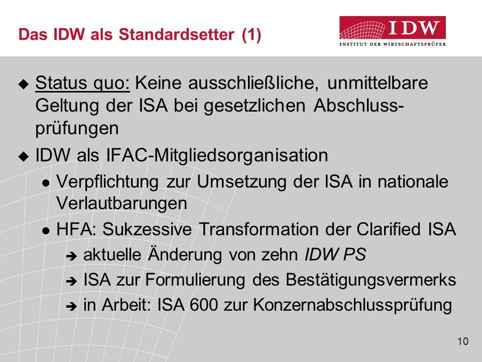 10 Das IDW als Standardsetter (1)  Status quo: Keine ausschließliche, unmittelbare Geltung der ISA bei gesetzlichen Abschluss- prüfungen  IDW als IFAC-Mitgliedsorganisation Verpflichtung zur Umsetzung der ISA in nationale Verlautbarungen HFA: Sukzessive Transformation der Clarified ISA  aktuelle Änderung von zehn IDW PS  ISA zur Formulierung des Bestätigungsvermerks  in Arbeit: ISA 600 zur Konzernabschlussprüfung