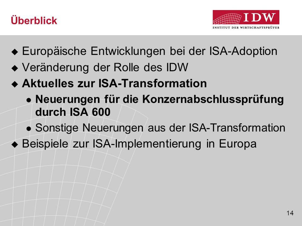 14 Überblick  Europäische Entwicklungen bei der ISA-Adoption  Veränderung der Rolle des IDW  Aktuelles zur ISA-Transformation Neuerungen für die Konzernabschlussprüfung durch ISA 600 Sonstige Neuerungen aus der ISA-Transformation  Beispiele zur ISA-Implementierung in Europa