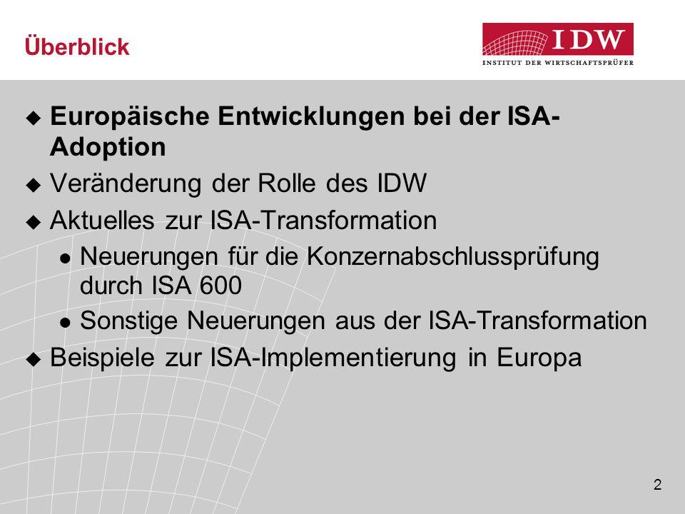 2 Überblick  Europäische Entwicklungen bei der ISA- Adoption  Veränderung der Rolle des IDW  Aktuelles zur ISA-Transformation Neuerungen für die Ko