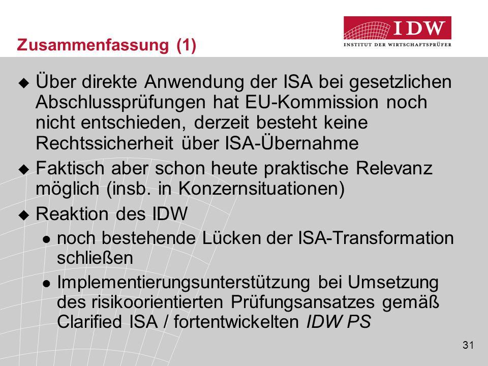 31 Zusammenfassung (1)  Über direkte Anwendung der ISA bei gesetzlichen Abschlussprüfungen hat EU-Kommission noch nicht entschieden, derzeit besteht keine Rechtssicherheit über ISA-Übernahme  Faktisch aber schon heute praktische Relevanz möglich (insb.