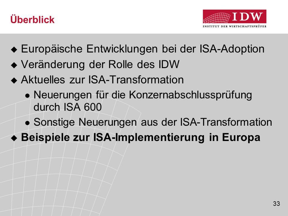 33 Überblick  Europäische Entwicklungen bei der ISA-Adoption  Veränderung der Rolle des IDW  Aktuelles zur ISA-Transformation Neuerungen für die Konzernabschlussprüfung durch ISA 600 Sonstige Neuerungen aus der ISA-Transformation  Beispiele zur ISA-Implementierung in Europa