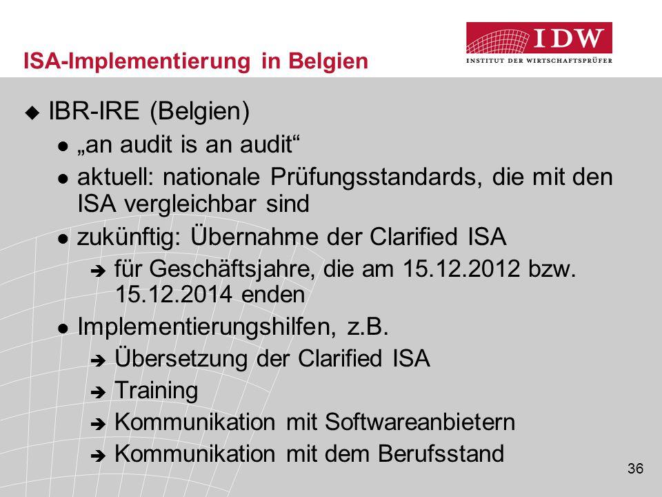"""36 ISA-Implementierung in Belgien  IBR-IRE (Belgien) """"an audit is an audit aktuell: nationale Prüfungsstandards, die mit den ISA vergleichbar sind zukünftig: Übernahme der Clarified ISA  für Geschäftsjahre, die am 15.12.2012 bzw."""