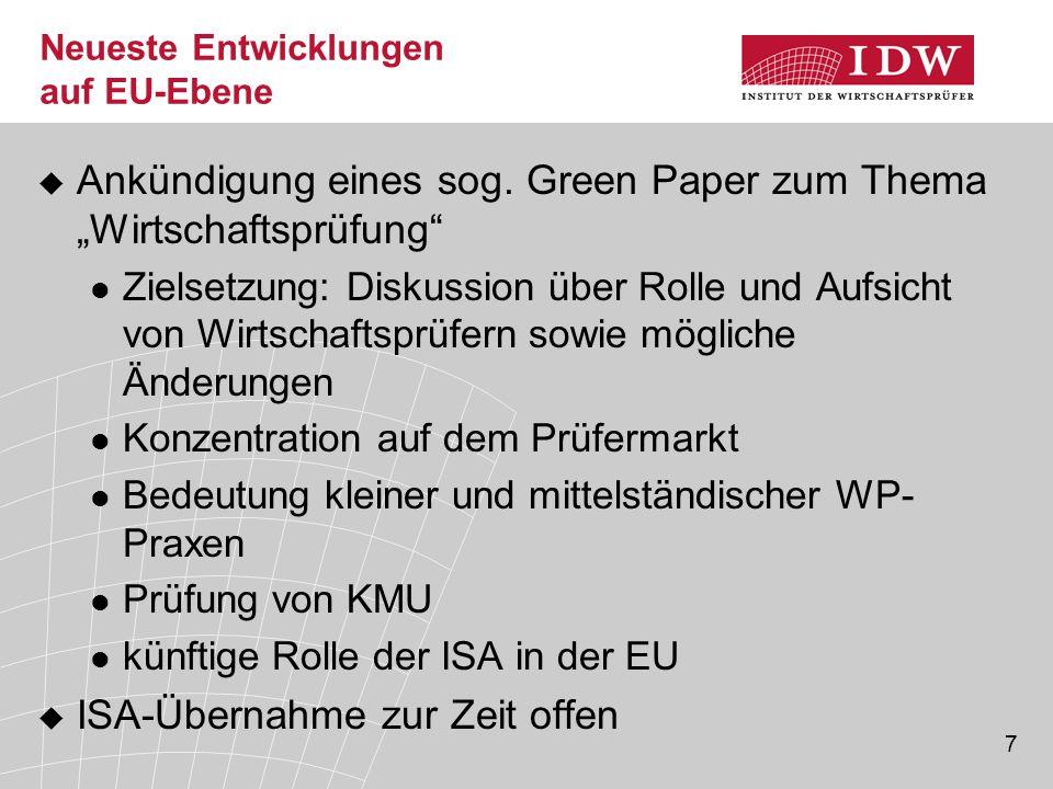 7 Neueste Entwicklungen auf EU-Ebene  Ankündigung eines sog.