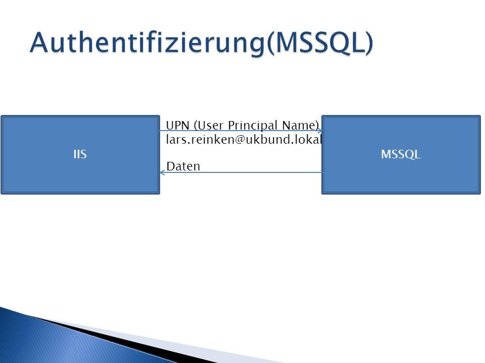 IISMSSQL UPN (User Principal Name) lars.reinken@ukbund.lokal Daten