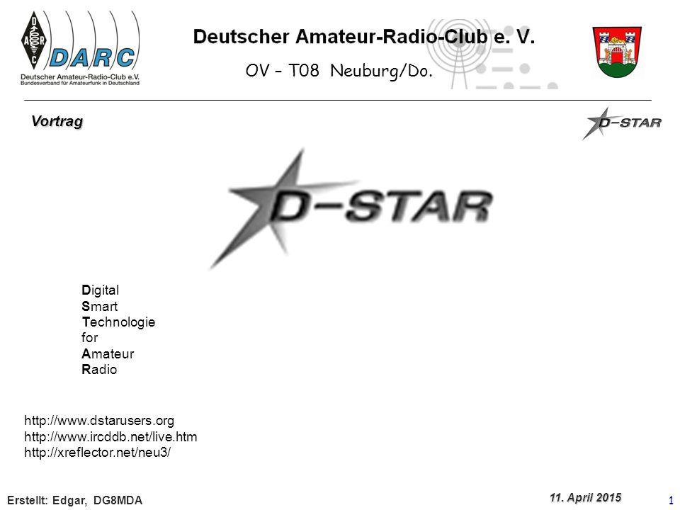 OV – T08 Neuburg/Do.Erstellt: 2 Bei D-Star erfolgt die Übertragung digital Was bedeutet das.