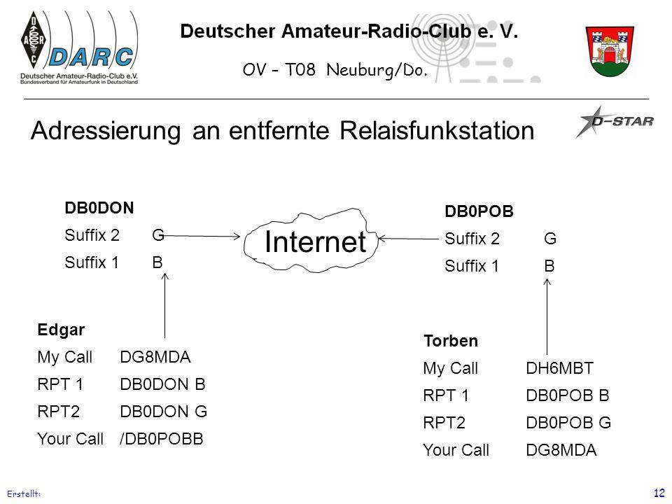 OV – T08 Neuburg/Do. Erstellt: 12 Adressierung an entfernte Relaisfunkstation Edgar My CallDG8MDA RPT 1DB0DON B RPT2DB0DON G Your Call/DB0POBB Torben