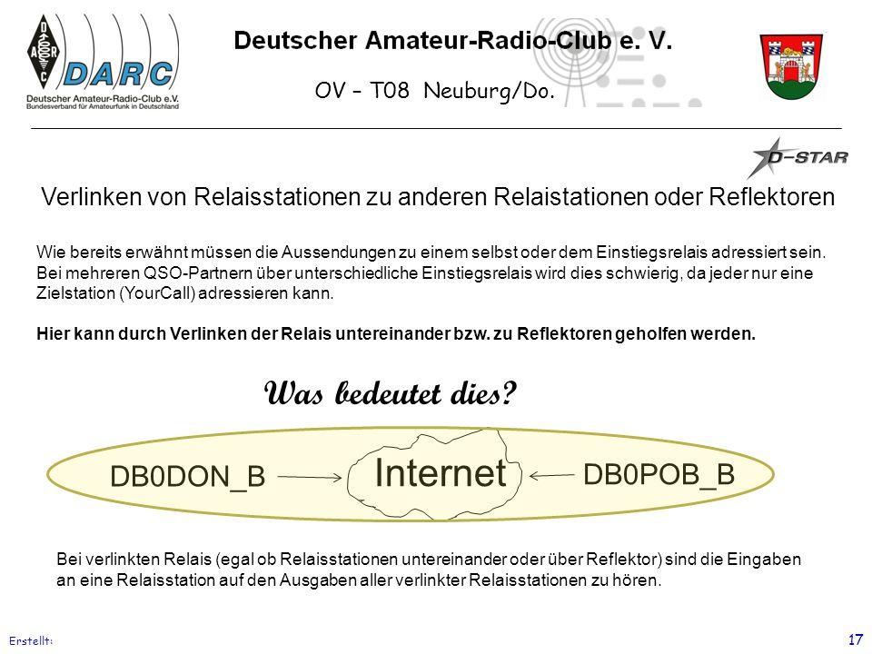 OV – T08 Neuburg/Do. Erstellt: 17 Verlinken von Relaisstationen zu anderen Relaistationen oder Reflektoren Wie bereits erwähnt müssen die Aussendungen