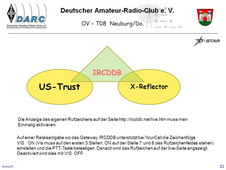 OV – T08 Neuburg/Do. Erstellt: 21 US-Trust X-Reflector IRCDDB Die Anzeige des eigenen Rufzeichens auf der Seite http://ircddb.net/live.htm muss man Ei