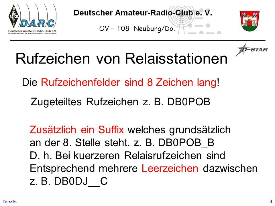 OV – T08 Neuburg/Do. Erstellt: 4 Rufzeichen von Relaisstationen Die Rufzeichenfelder sind 8 Zeichen lang! Zugeteiltes Rufzeichen z. B. DB0POB Zusätzli