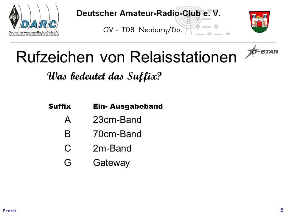 OV – T08 Neuburg/Do. Erstellt: 5 Rufzeichen von Relaisstationen SuffixEin- Ausgabeband A23cm-Band B70cm-Band C2m-Band GGateway Was bedeutet das Suffix