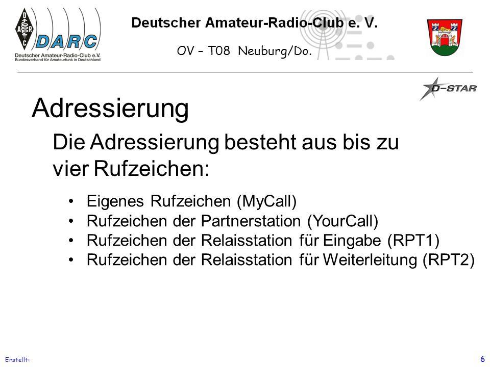 OV – T08 Neuburg/Do. Erstellt: 6 Adressierung Eigenes Rufzeichen (MyCall) Rufzeichen der Partnerstation (YourCall) Rufzeichen der Relaisstation für Ei