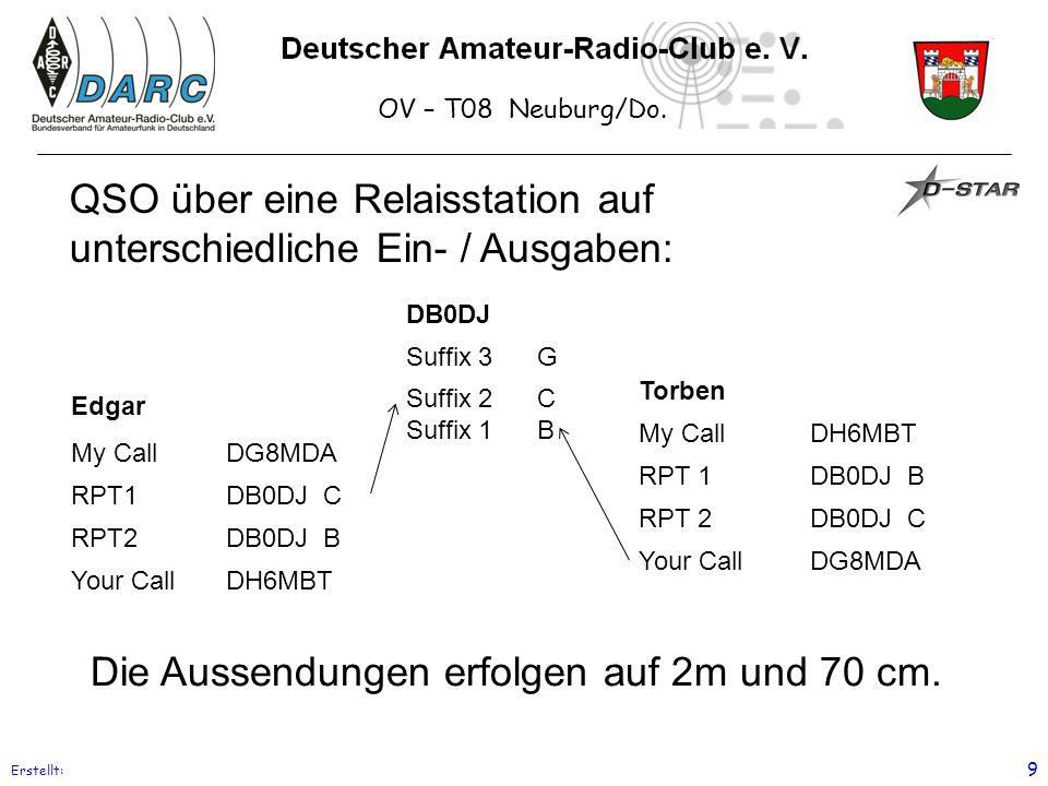 OV – T08 Neuburg/Do. Erstellt: 9 QSO über eine Relaisstation auf unterschiedliche Ein- / Ausgaben: Edgar My CallDG8MDA RPT1DB0DJ C RPT2DB0DJ B Your Ca