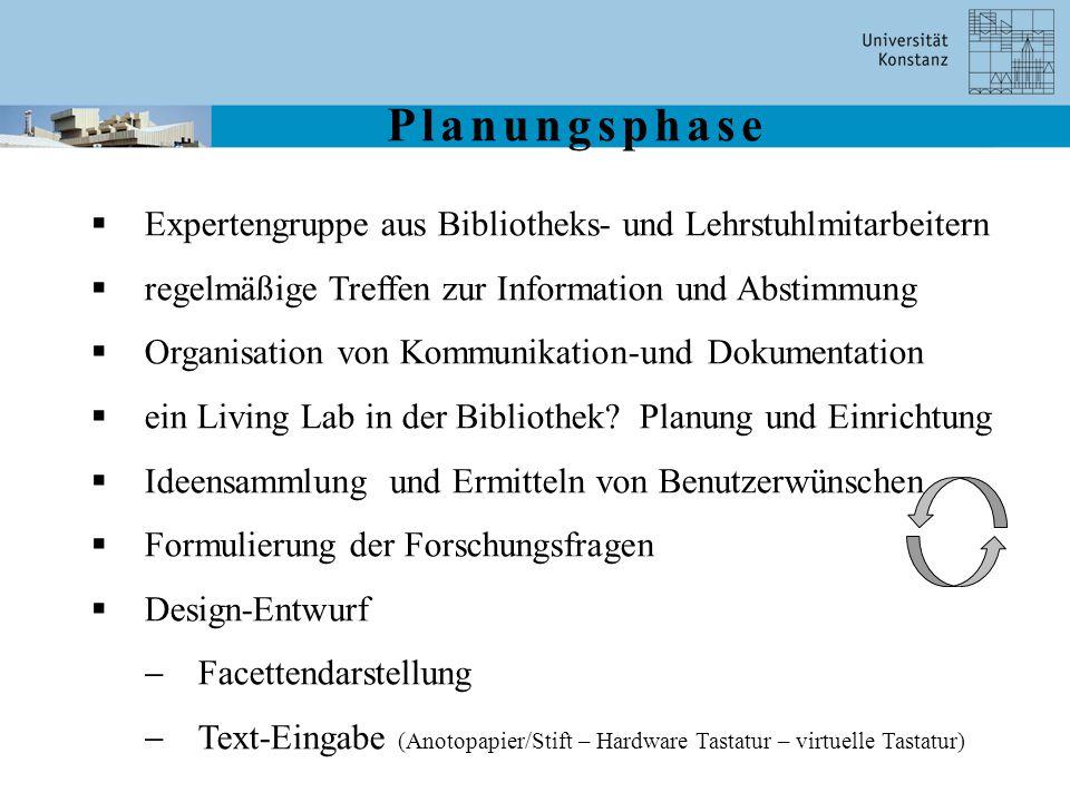 Planungsphase  Expertengruppe aus Bibliotheks- und Lehrstuhlmitarbeitern  regelmäßige Treffen zur Information und Abstimmung  Organisation von Komm