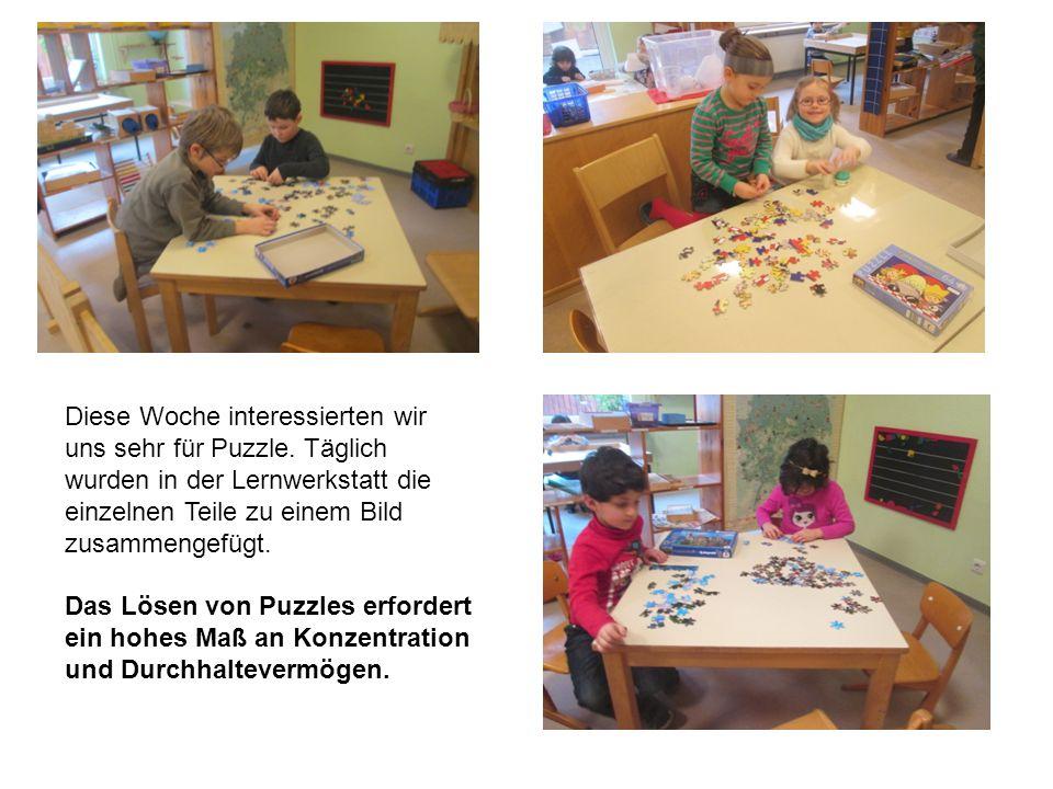 Bei den Sprachspielen am Dienstag kamen die Riesen dann auf die Idee selbst ein kleines Puzzle herzustellen.