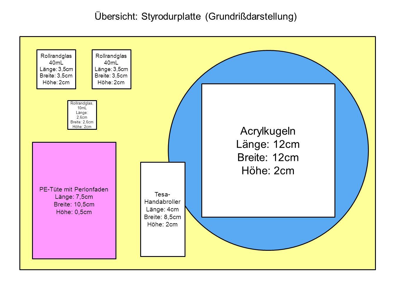 Acrylkugeln Länge: 12cm Breite: 12cm Höhe: 2cm PE-Tüte mit Perlonfaden Länge: 7,5cm Breite: 10,5cm Höhe: 0,5cm Tesa- Handabroller Länge: 4cm Breite: 8
