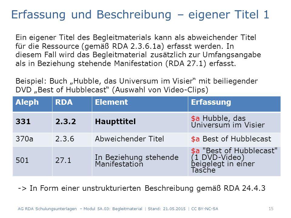 AG RDA Schulungsunterlagen – Modul 5A.03: Begleitmaterial | Stand: 21.05.2015 | CC BY-NC-SA AlephRDAElementErfassung 3312.3.2Haupttitel $a Hubble, das Universum im Visier 370a2.3.6Abweichender Titel$a Best of Hubblecast 50127.1 In Beziehung stehende Manifestation $a Best of Hubblecast (1 DVD-Video) beigelegt in einer Tasche Erfassung und Beschreibung – eigener Titel 1 Ein eigener Titel des Begleitmaterials kann als abweichender Titel für die Ressource (gemäß RDA 2.3.6.1a) erfasst werden.