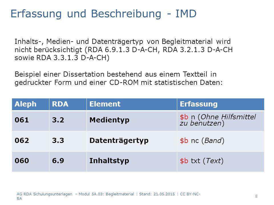AlephRDAElementErfassung 0613.2Medientyp $b n (Ohne Hilfsmittel zu benutzen) 0623.3Datenträgertyp$b nc (Band) 0606.9Inhaltstyp$b txt (Text) Erfassung und Beschreibung - IMD Inhalts-, Medien- und Datenträgertyp von Begleitmaterial wird nicht berücksichtigt (RDA 6.9.1.3 D-A-CH, RDA 3.2.1.3 D-A-CH sowie RDA 3.3.1.3 D-A-CH) Beispiel einer Dissertation bestehend aus einem Textteil in gedruckter Form und einer CD-ROM mit statistischen Daten: 8