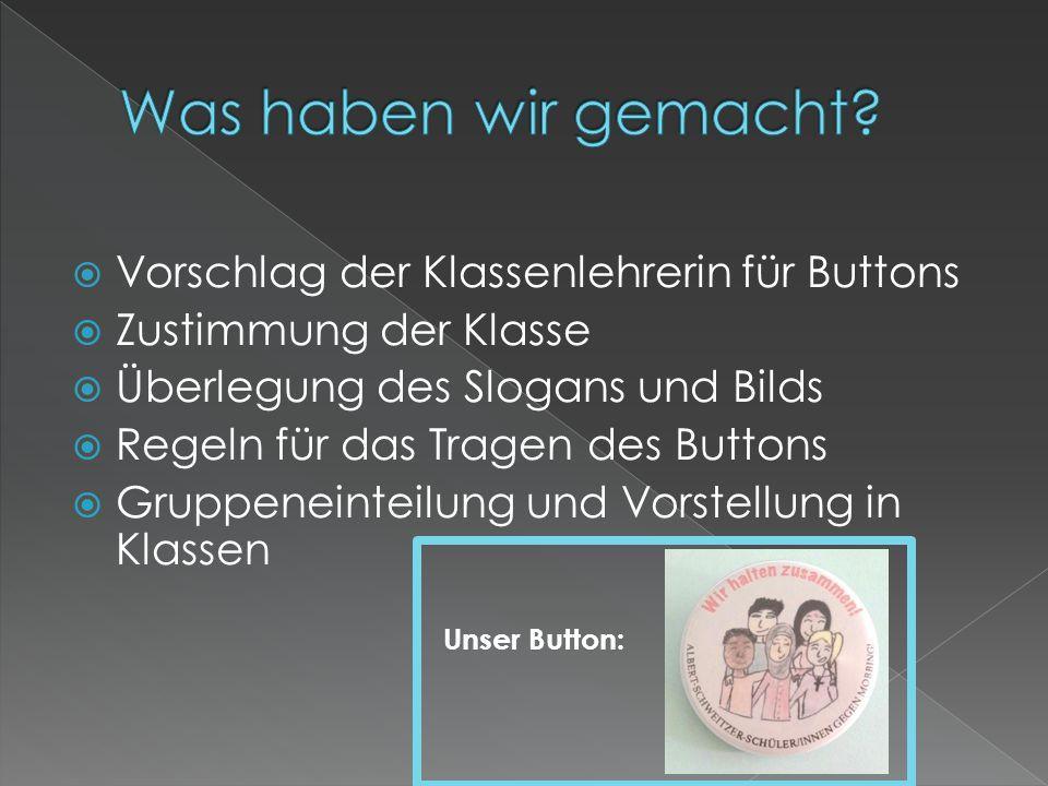  Vorschlag der Klassenlehrerin für Buttons  Zustimmung der Klasse  Überlegung des Slogans und Bilds  Regeln für das Tragen des Buttons  Gruppenei