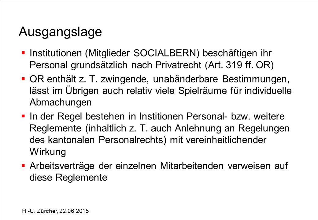 Ausgangslage  Institutionen (Mitglieder SOCIALBERN) beschäftigen ihr Personal grundsätzlich nach Privatrecht (Art.