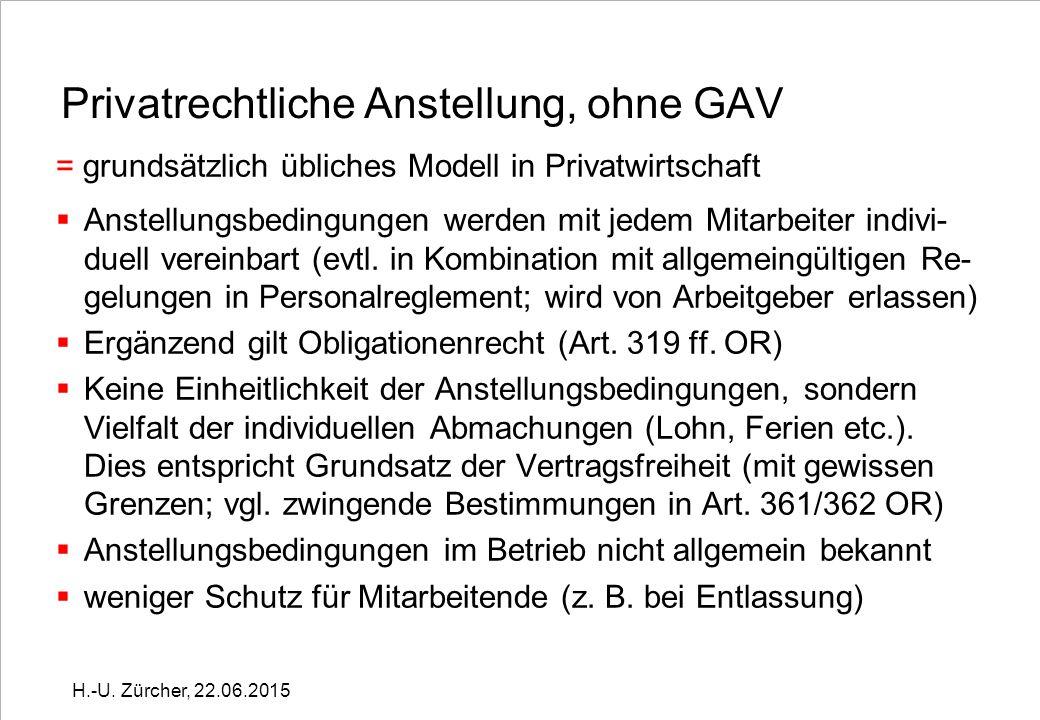 Zeitlicher Geltungsbereich GAV / 1  befristet oder unbefristet (muss in GAV geregelt werden) H.-U.
