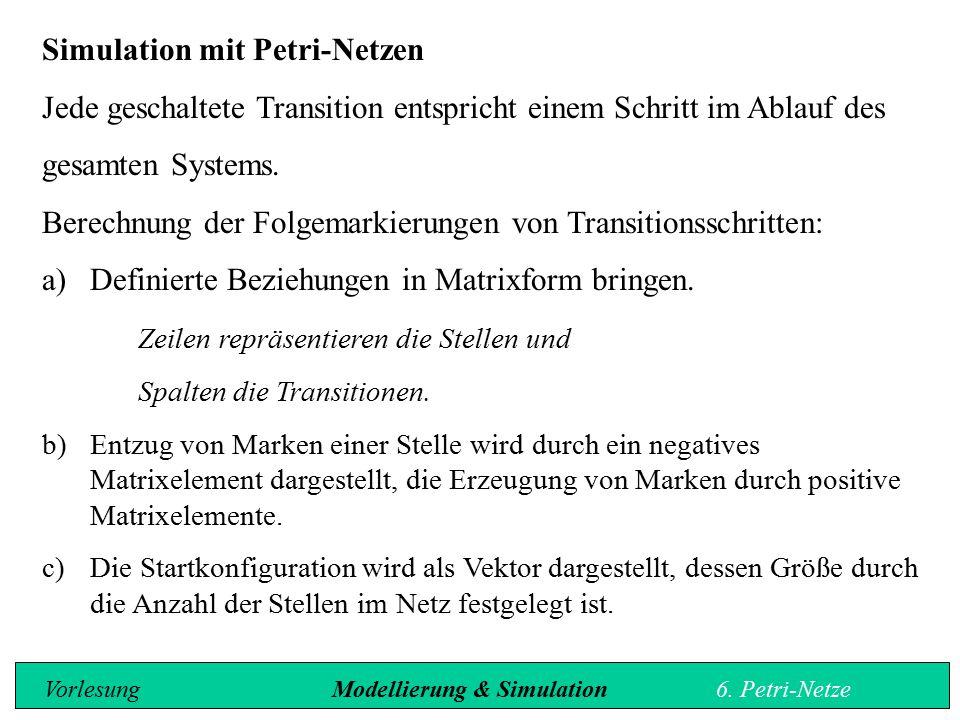 Simulation mit Petri-Netzen Jede geschaltete Transition entspricht einem Schritt im Ablauf des gesamten Systems.