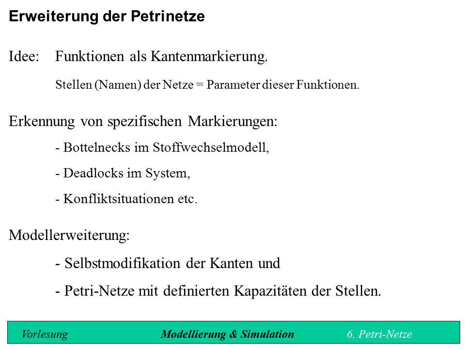 Erweiterung der Petrinetze Idee:Funktionen als Kantenmarkierung.